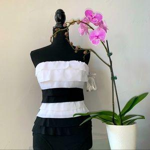 Magic Suit Black/White Multi-Layered One-Piece